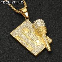 Кулон Ожерелья хип-хоп Микрофон ленты рок-блок ледяные подвески ожерелье мужская мужская нержавеющая сталь ювелирные изделия золотая цветная цепь