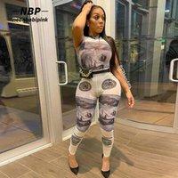 Деньги печатающиеся сетки Sexy 2-х частей наборов наборы женские наряды Осень 2021 клуб носить боди Leggings Monding D87-DZ14 женские две штаны