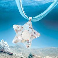 Collier en étoile à cinq pointes de style européen et américain Collier de conque en étoile longue de l'océan Élément de verre Pendentif