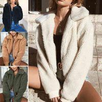 Women Ladies Fashion Winter Coat Fluffy Shaggy Faux Fur Warm Coat Cardigan Jacket Lady Casual Outwear Sale