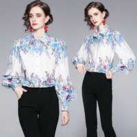 Dropshipping New Spring Summer Fall Autumn Floral Print Collar Button Front Lantern Sleeve Women Ladies Casual Party Office OL Workear Beach Tops Shirt Blouse
