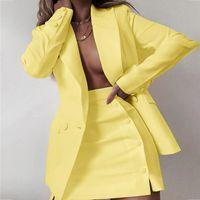 Two Piece Dress 2021 Fashion Women Streetwear Candy Colour Basic Blazer Sets Coat + Side Buttons Skirt Slim Suit Jacket Suits Office