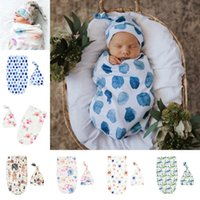6 Styles toddler Infant INS Swaddle Boys Girls Bear dinosaur blanket+hat Newborn Baby Soft Cotton Sleep Sack 2pcs Set Sleeping Bags 1603 Y2
