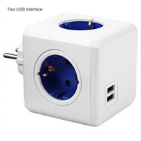 Smart Power Plugs Home Cube Socket 2 Round Pin EU Plug USB Fast Ports Adapter Strip 1.5M Extension Cable For