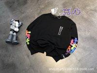 KL Xinjia 21 ранняя весна Новый корейский хлопок Терри печатает пару свободного рукава круглый шейный свитер