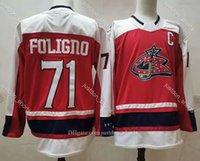 Retro Retro Columbus Blue Chaquetas Jersey Hockey 3 Seth Jones 13 Cam Atkinson 71 Nick Foligno Navy White White Red Hombres cosido Buena camisa