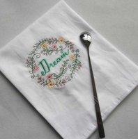 Servilletas bordadas Carta de algodón Toallas de té absorbentes Tabla de Absorbente Natillas Uso de cocina Boutique Boutique Tela de boda 5 diseños DAF254