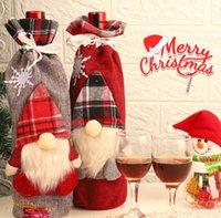 Christmas Wine-Cover Plaid Bottle Clothes Wine-Bottle Cover Xmas Ornament Faceless Santa Claus Wine Bag Christmas Decoration GWB10587