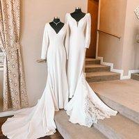 Deep V neck 2022 Long Sleeve Wedding Dresses Bridal Gowns South African Country Real Photo Court Train Lace Applique Reception Dress Vestido De Arabic