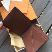 2021 패션 고품질 짧은 지갑 격자 무늬 편지 인쇄 디자이너 카드 홀더 럭셔리 브랜드 유니섹스 돈 클립 상자