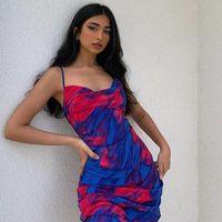 GTPDPLLT галстук-краска пляжное платье для женщин спагетти ремешок синий 2021 сексуальная списка вечеринка ночной клуб женские женские весенние Vestidos повседневные платья