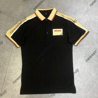 2021 Europa Herren Streifen Spleißen T-shirt Hohe Qualität Schraube Baumwolle Patchwork Polo Stickerei Brief Drucken T Shirts Designer Casual Tee
