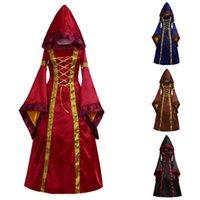 Casual Kleider Vintage Gothic Für Frauen Mittele Renaissace Kleid Kleid Square Neck Lange Hood Vestidos Elegantes Para Mujer