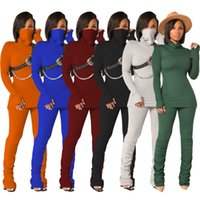 The New Listing Women's Solid Color Leisure Women Sports Tracksuits Stack Pants + Long Sleeve Mask T-shirt suits