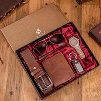 손목 시계 6pcs / 세트 부티크 선물 세트 안경 + 벨트 지갑 + 키 체인 + 대형 다이얼 쿼츠 시계 + 펜 무료 일치 팔찌 시계 2021 명함