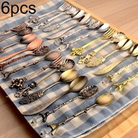 Dinnerware Sets 6Pcs Crown Scepter Head Long Handle Coffee Dessert Mixing Spoon Fork Tableware Color May Be Slightly Different From The Pict