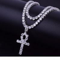 Luxury Men&amp#39s Women Hip hop Jewelry Zircon Ankh Cross 5mmTennis Chain Pendant Necklace Charm Bling Cubic Zircon For Gift D