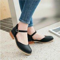 Sandals Sandália de salto quadrado com fivela, novo, em estilo retrô britânico, 4 cores, tamanho 32 a 44, frete grátis, verão, 1OZR