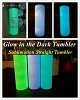 DIY Sublimação Tumbler Brilho no Tumbler escuro 20oz tumbler em linha reta com tinta luminosa copo luminoso copo de viagem mágico BT05