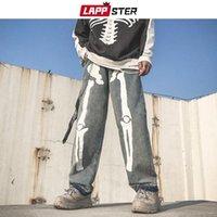 Men's Jeans LAPPSTER Men Skeleton Oversized Black Pants 2021 Denim Mens Streetwear Hip Hop Harem High Wasit Overalls