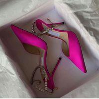 Landon Luxury Saeda Sandals Dress Shoes Crystal Strap Pumps Satin Suede Leather High Heels Bridal Wedding Party Women's Sexy Walking