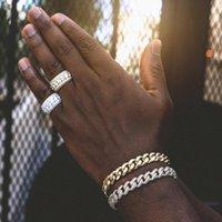 Charm Bracelets Fashion Gold Color Cuban Link Bracelet Curb Chain Rhinestones Paved Men Women Hippie Hip Hop Jewelry Wholesale Gifts