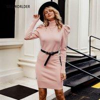 Frauenpullover Sellworlder Frauen Rosa Pullover Bodycon Winter Gestrickte Kleid Damen Solide Herbst