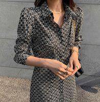CH CROSIN H / SARTS / CHROME Корейский принт Маленький осенний женский дизайн талии галстука французское стройное платье