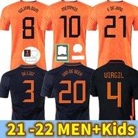 2021 Hollanda Memphis De Jong Futbol Forması Ligt Hollanda Strootman Van Dijk 2022 Futbol Gömlek Yetişkin Erkekler + Çocuk Seti