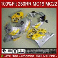 Injektionskropp för Honda CBR250RR MC19 1988-1989 CBR 250 RR CC 250R 250RR 88 89 112HC.242 CBR250 RR CC 1988 1989 Bodywork CBR 250CC 88-89 OEM Fairings Kit Gul Silveryy
