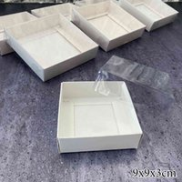 White Cake Gift Box Cardboard Packaging Clear PVC Window Transparent Lid Cookie Candy Wedding Clothes Dress Guests Boxes 210517