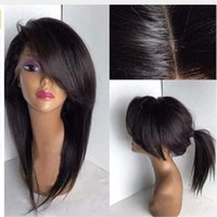 Fringe Wigs Silky Straight Lace Front Synthetic Hair Wigss With Side Part Bangs Pre Plucked Hairline Wig Bleach Knots Synthetics laces frontwig