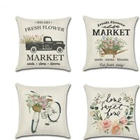 Lino Spring Pillowcases Bicycle Car Fresh Flower Farmer Series Stampa Pillow Case Cuscino Cover Cover SOFA BAR Cafe Decorazione della casa