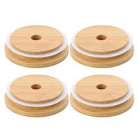 Bamboo Mason Jars Couvercles de 70mm 88mm Bouchons de Mason à bouche de 88mm avec un trou de paille en paille