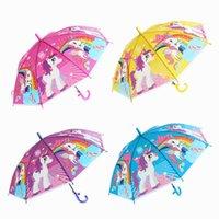 Children's Cartoon Transparent Umbrella EVA Straight Long Handle Windproof Rain Car Umbrellas Kid Girls Sun Protection Portable G61YQWL