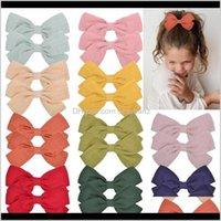 Barrettes Großhandel Mädchen Kinder Grosgrain Baumwolle Stoff Bögen mit Clip Haarklammern Süßigkeiten Farben Baby Kopfschmuck Zubehörgeschenk 3B6OD XV5WC