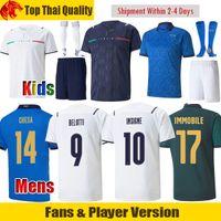 Fans Player Version Italie maillot de foot BELOTTI Euro 2021 INSIGNE CHIESA IMMOBILE Italy maillot de football JORGINHO BONUCCI VERRATTI Hommes Maillot enfants kit