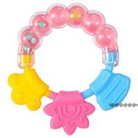 Silikon Zahngummi Beißringe Schnuller Kreis Ring Baby Rasseln Beißung Spielzeug Kind Niedlichen Säuglingsglockengroße Großhandel Molarstange EWC7325