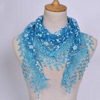 Bufandas Y25 1pc Moda de moda Triángulo Tassel Wrap Lady Shawl Encaje Sheer Floral Print Bufanda para