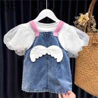 born Baby Girl Clothes Summer Outfits Sets Fashion Top + Strap Denim Skirt Suit For Infant Clothing 210508