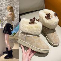 Bottes bottes de neige de klaxon de corne elk féminin 2021 automne et hiver de la mode coréenne en peluche coton épaissie chaussures pour les étudiants à garder au chaud