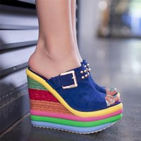 Dress Shoes 2021 Summer Sexy Bohemia Casual Rainbow Platform Peep Toe Sandals For Women Wedges