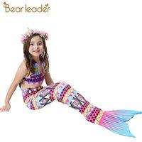 Mädchen Kleidung Sets Neue Sommer Little Mermaid Tail Bikini Anzüge Schwimmen Kostüm Kleidung Sets 3 stücke Für 3-12 Jahre 210414