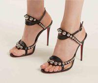 Luxury Women Sandals Shoes Red Bottom Tacones altos Galeria Stud-Frellished Sandal Sandal Pearl Drape y Spiked Black Cuerps Tobillos Correas Bombas