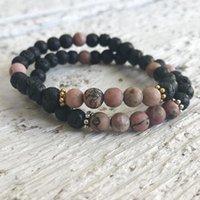 Tennis 6mm Matte Rhodonite & Lava Stone Beads Beaded Bracelet Natural Mala Jewelry Boho