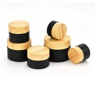 Storage Bottles & Jars Empty 5G~50G Glass Cream Jar Matte Black Wooden Pattern Lid Skin Care Refillable Cosmetic Face Lotion Container 15pcs