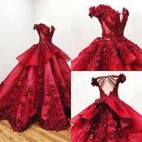 2021 Red Quinceanera Dresses Ball Gown Off Shoulder 3D Floral Appliqued Beads Girls Pageant Gowns Formal Prom Dress Sweep Train