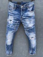 2021 D2 Classic Fashion Meen Jeans Hip Hop Rock Moto Mens Повседневная Дизайн Разорвал проблемные джинсовые джинс