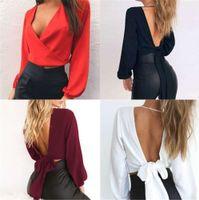 Women V Neck Backless Blouses Fashion Lantern Sleeve Lace Up Loose Blouse Tops 20ss New Women Designer Clothing