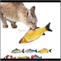Supplies Home & Garden Drop Delivery 2021 3D Plush Cat Interactive Pet Gifts Fish Catnip Toys Stuffed Pillow Doll Simulation Playing Toy For